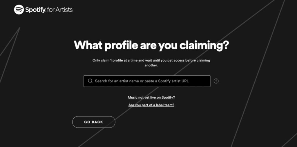 Spotify for artists claim profile
